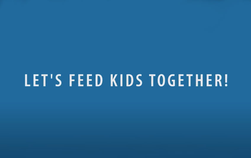 """The text """"Let's Feed Kids Together"""" in white on a blue background"""