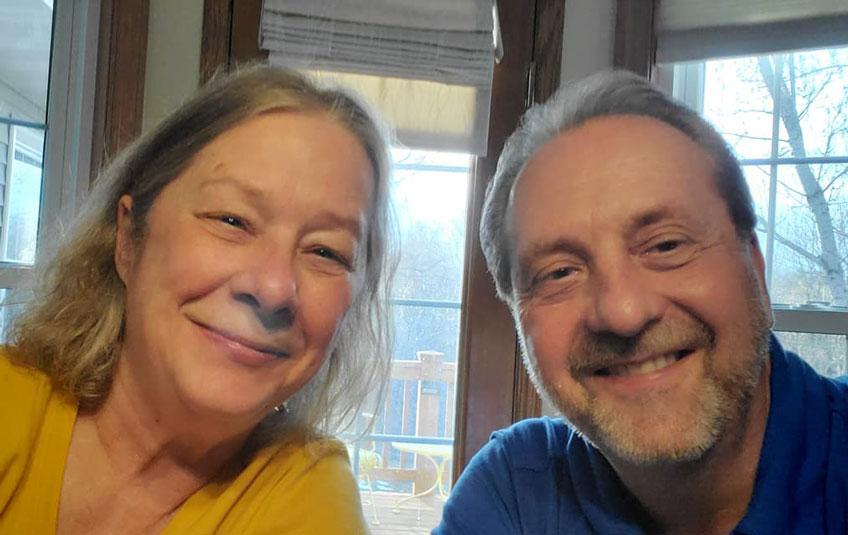 A selfie of a couple