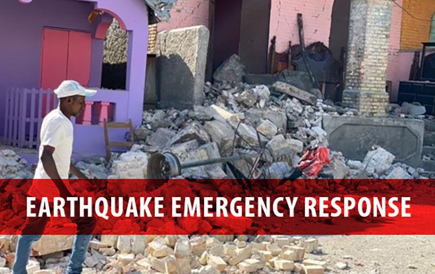 """earthquake rubble in haiti with a text overlay that says """"earthquake emergency response"""""""