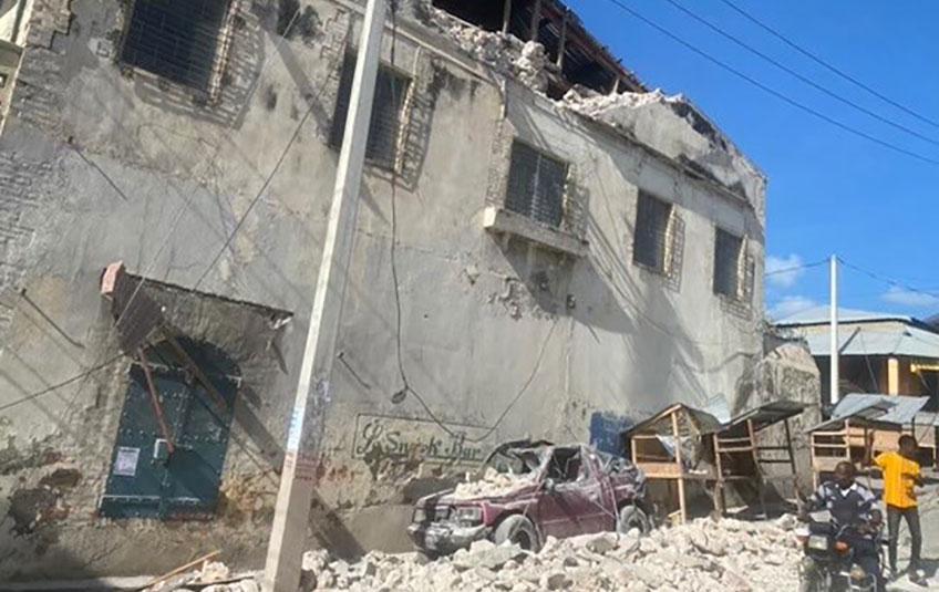 A damaged building in Haiti following the August 14, 2021 earthquake