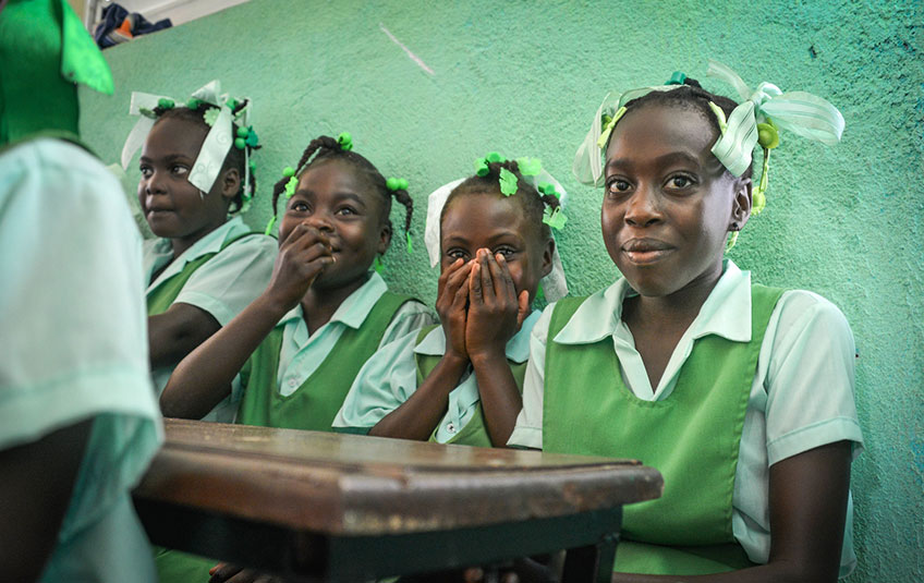 4 Haitian girls in school
