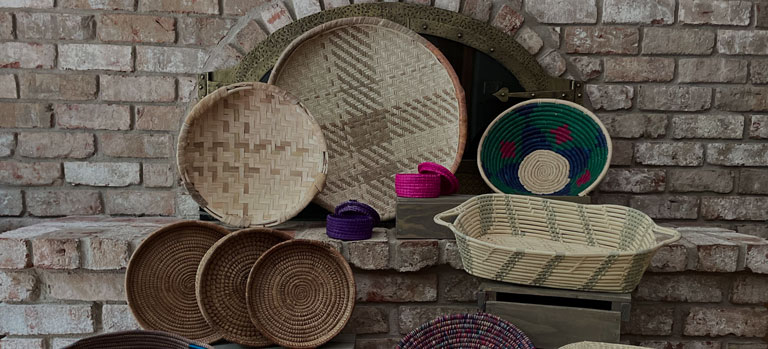 A display of woven baskets