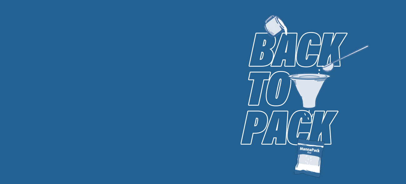 "blue background with the text ""back to pack"" on the right side"