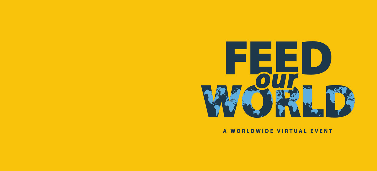 Yellow background with the words Feed Our World in blue