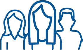 an icon with an outline of three people standing side by side