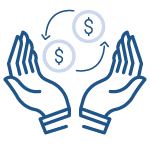 icon of two hands giving money