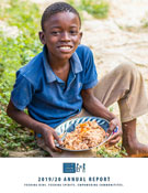 FMSC 2019-20 annual report cover showing a boy sitting on the ground eating FMSC food