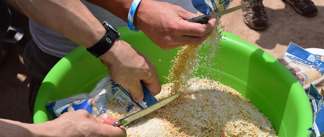 Opening MannaPack Rice in Haiti